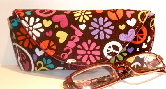 Peace and Floral Eyeglass Case with Magnetic Closure