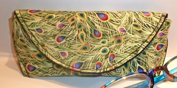 Peacock Eyeglass Case with Magnetic Closure