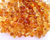New 50 Czech Glass DROPLET Beads AUTUMN Amber Topaz MIX 4x6mm