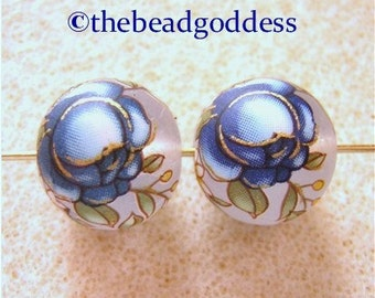 New Pair Japanese TENSHA Beads BLUE Roses on FROST 12mm
