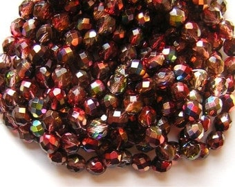 LAST 22 Czech Faceted Glass Beads Amazing 'MAGIC' RED Colors 6mm