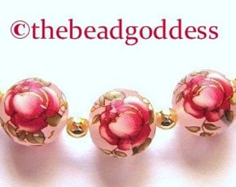 5 Beautiful Japanese Tensha Beads RED ROSE FROST 12mm
