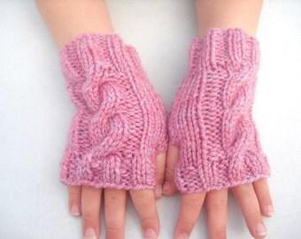 Children's fingerless gloves, Age 2 to 4  years mittens wrist warmers dusky pink