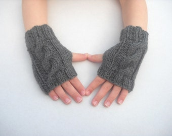 Childrens fingerless gloves, Age 5 to 8 years mittens wrist warmers grey gray