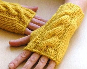 Saffron Wrist Warmers Cable Knit fingerless gloves fingerless mittens gold yellow