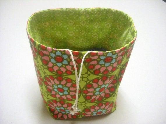 Knitting bag Reversible Drawstring Sock Knitting or small project bag Kip bag