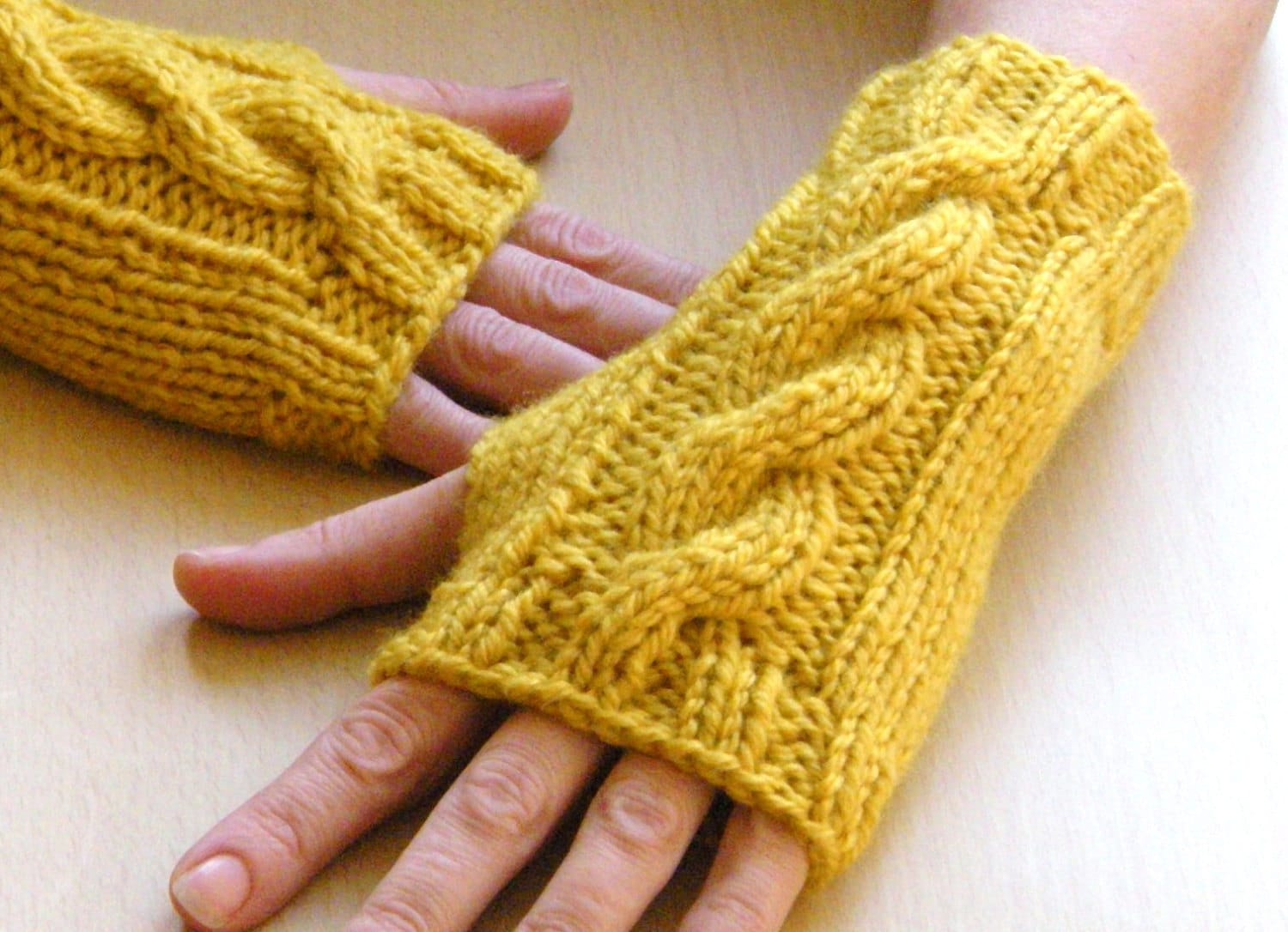 Saffron Wrist Warmers Cable Knit fingerless by bijouxboutique