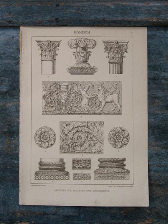 Roman Architecture, Sculpture and Ornament - Original Rare Antique Lithograph Print