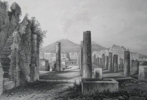 The Forum, Pompeii, Italy - Original Antique Steel Engraving Print