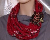 Red Fall Leaves Fern Vines Embroidery Strand Crochet Scarf MTCoffinz --- ready to ship