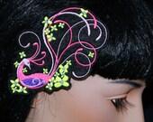 Neon Pink Yellow Peacock Bird UV Embroidered Hair Clip MTCoffinz