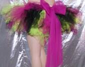 UV Lime green Black Fuchsia trashy TuTu Skirt with Giant Pink Bow Medium MTCoffinz --- Ready to Ship