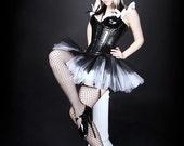 Gothic Black White Faerie Ballerina dance scene TuTu adult ALL SIZES MTcoffinz