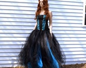 Turquoise Blue and Black Formal Alternative Wedding Skirt Adult All Sizes - MTCoffinz - Choose Size