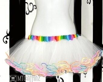 Rainbow Angel White TuTu Skirt Adult All Sizes MTCoffinz
