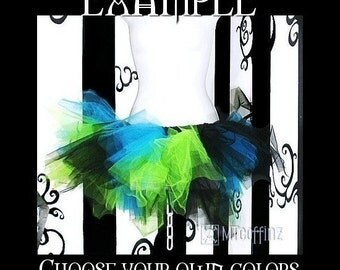 Custom colors, YOU choose from 20 colors. Tattered Trashy ADULT tutu size Small MTCoffinz