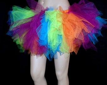 UV Ultra Neon Striped Kawaii Trashy TuTu Skirt ...All Adult Sizes... MTCoffinz