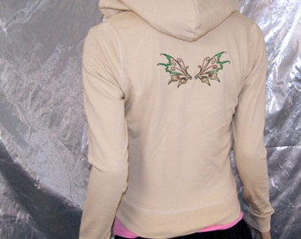 Tan Brown Earth Fairy Wings Embroidered Hoodie Adult small MTCoffinz --- ready to ship