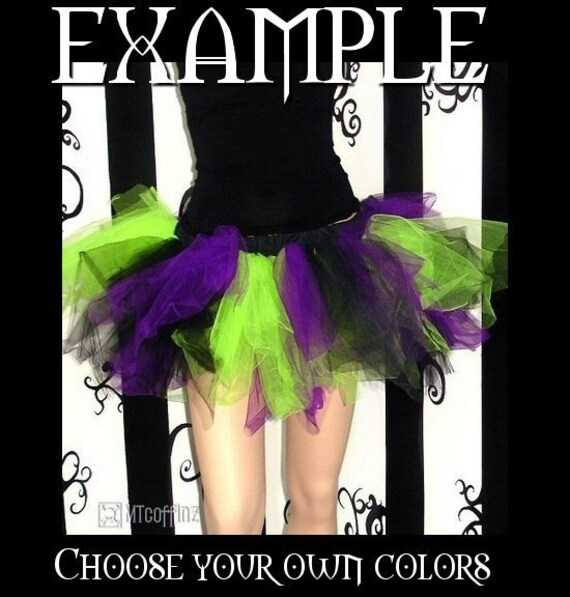 Custom colors, YOU choose from 35 colors. Tattered Trashy ADULT tutu size MEDIUM MTCoffinz
