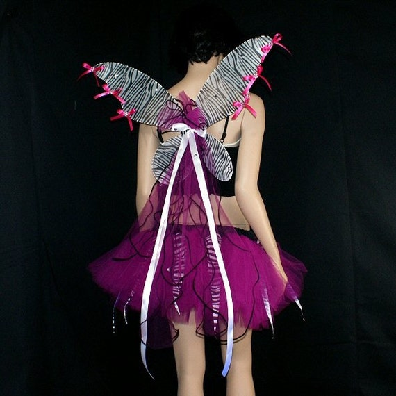 Hot Pink UV Zebra Fairy Costume with Wings adult large--- ready to ship