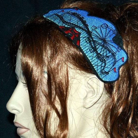 Circus Carnival Roller Coaster Embroidered Headband MTCoffinz