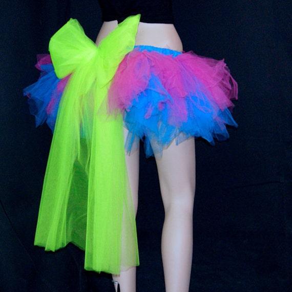 UV Kawaii Neon Pink Blue Green Trashy TuTu Bustle small MTCoffinz --- ready to ship