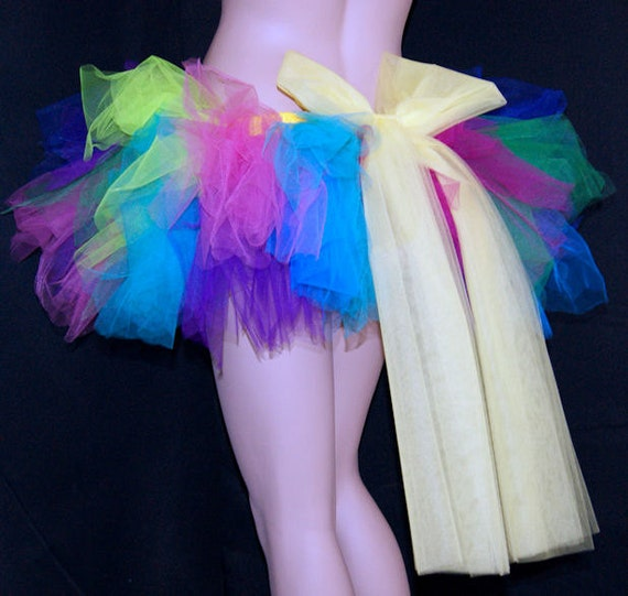 UV Turquoise Blue Pink Green Purple Rainbow TuTu Skirt Giant Yellow Bow adult small MTCoffinz --- Ready to Ship