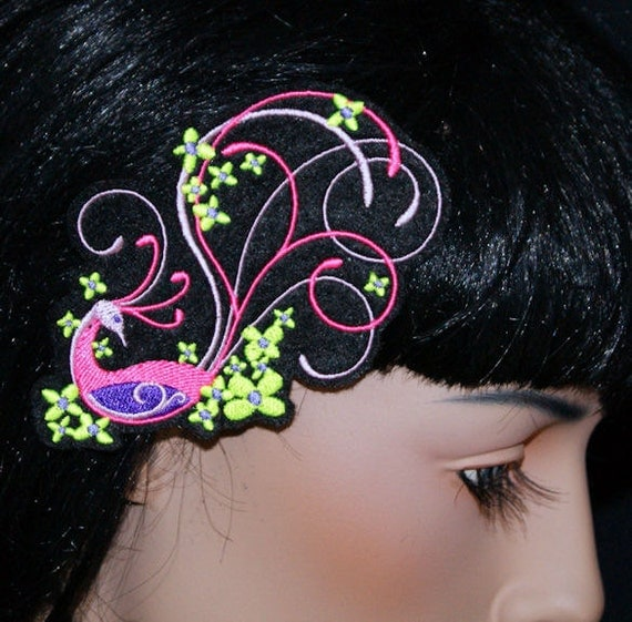 Neon Pink Yellow Peacock Bird UV Embroidered Hair Clip MTCoffinz