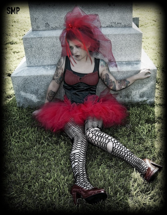Lydia Red Tattered TuTu Skirt adult ALL Sizes MTCoffinz
