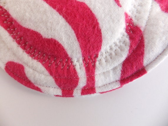 Regular Cloth Pad -- Pink Zebra Flannel -- Kiki Pads