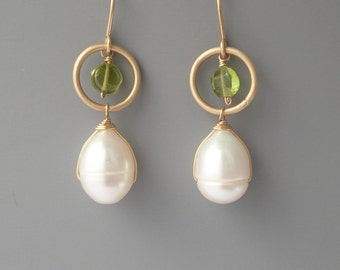 Green peridot and white pearl drop earrings in gold filled, Rachel Wilder Handmade Jewelry