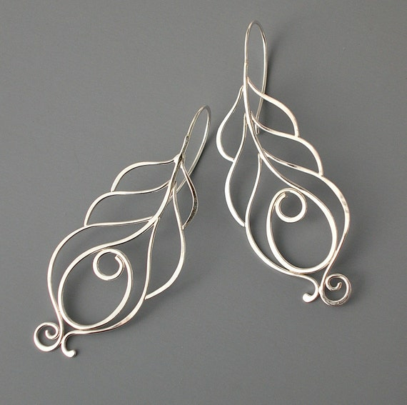 Sterling silver peacock feather earrings, Handmade jewelry