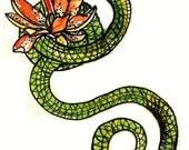 Green Snake and Lotus