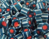 """Handmade Murrini Chips COE 104 For Lampwork Artists """"Watermelon"""" Dark Green Teal Blue Coral by Solaris Beads MB24"""