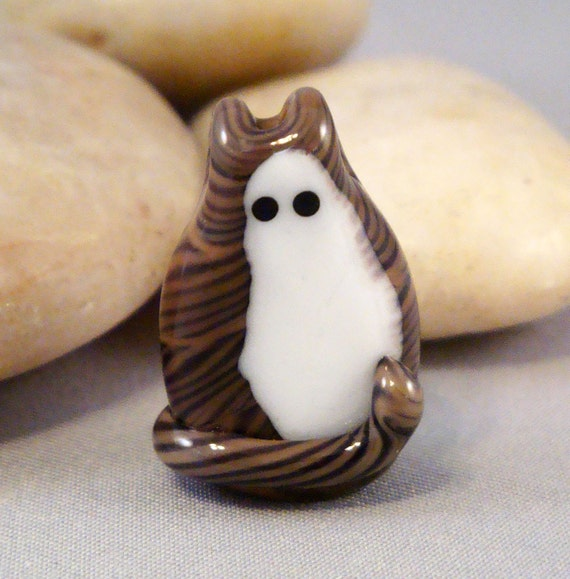Brown Tabby Kitty Cat Adopt A Pet Focal Lampwork Glass Bead by Solaris Beads 1735