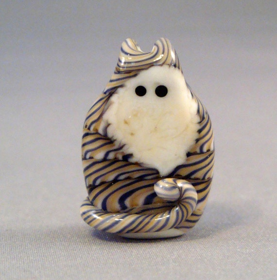 Tiger Stripe Tabby Kitty Cat Adopt A Pet Focal Lampwork Glass Bead by Solaris Beads 1743