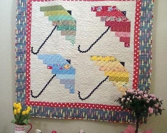 Spring Showers 4 Umbrella Quilt Pattern - pdf download only