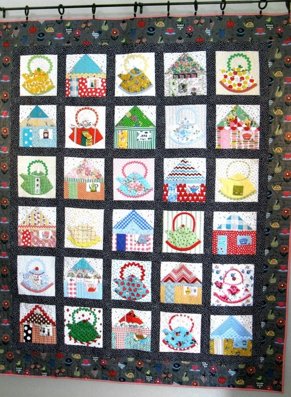 Items similar to kettles in the kitchen quilt pattern pdf for Kitchen quilting ideas