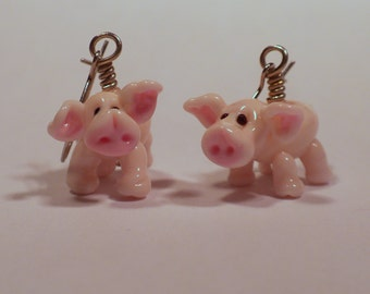 Piggies on Parade - handmade lampwork glass bead earrings FOR CUSTOM ORDER