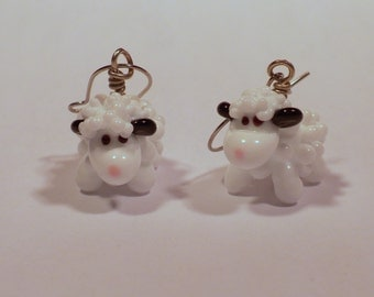 white sheep earrings - handmade lampwork glass beads