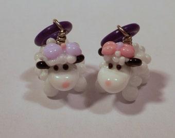 party girls - handmade lampwork glass sheep stitch markers