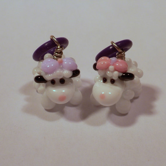 party girls - handmade lampwork glass sheep stitch markers