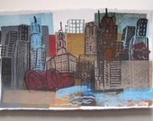 Chicago Linocut Collage Monoprint Windy City Print -- ON SALE