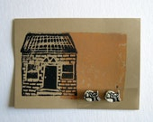 Ceramic Kitty Cat Magnet with Linocut House Postcard