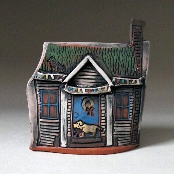 Ceramic Miniature Christmas House with Dog Home Decor