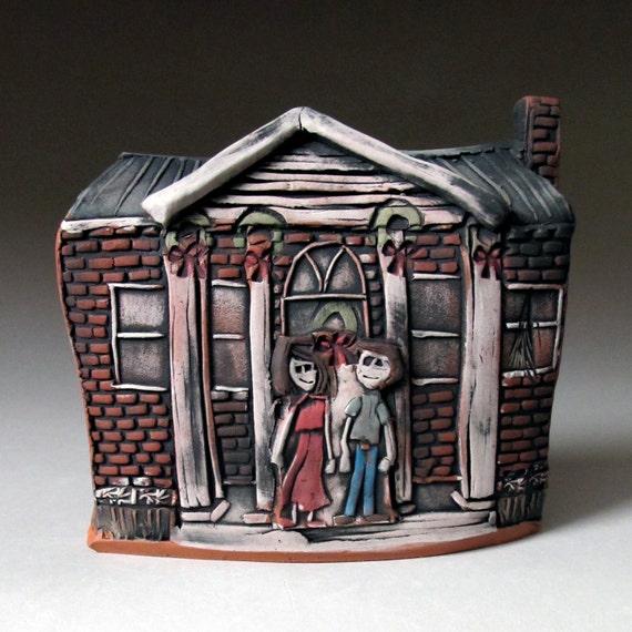 Christmas Holiday Miniature House Earthenware Sculpture