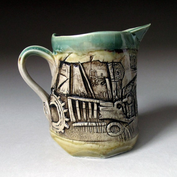 Ceramic Pitcher Green with Tractor and Hay Bales Relief Print