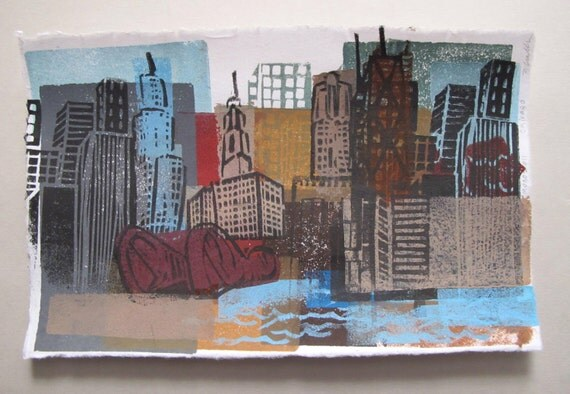 Chicago Linocut Collage Monoprint Windy City Print -- ON SALE