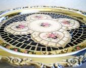 Paris Chic Broken China Mosaic Tray black pink roses gold cream