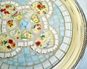 Sunny Vintage Chintz Broken China Mosaic Mosaic Tray baby blue yellow floral valentine hearts